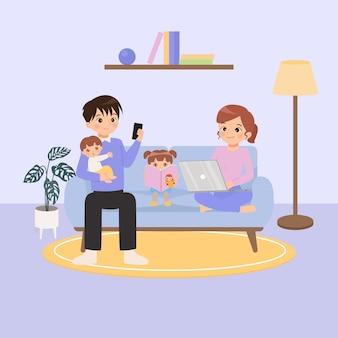 在宅勤務の新しい通常のライフスタイル家族家族は居間で一緒に時間を過ごす自己検疫新しい通常の概念