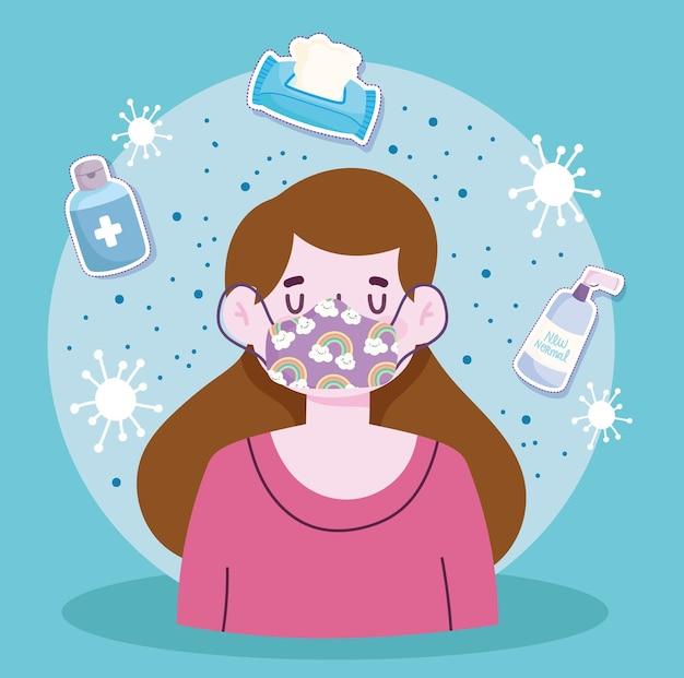 新しい通常のライフスタイル、マスクアルコールボトルとティッシュペーパー漫画スタイルのイラストを持つ女の子