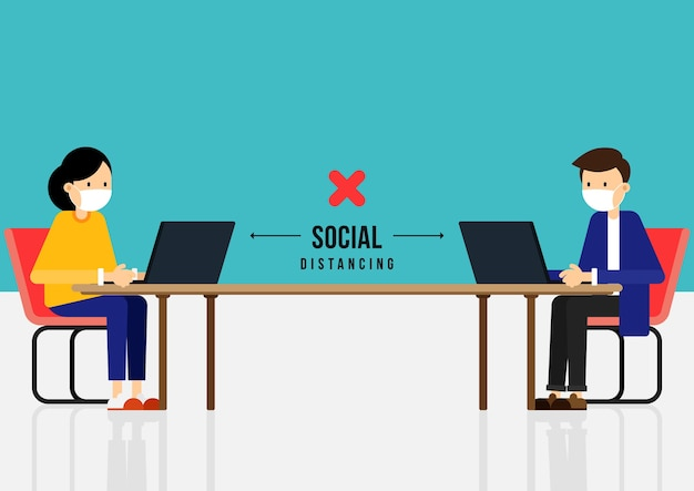 New normal lifestyle and social distancing concept under covid-19