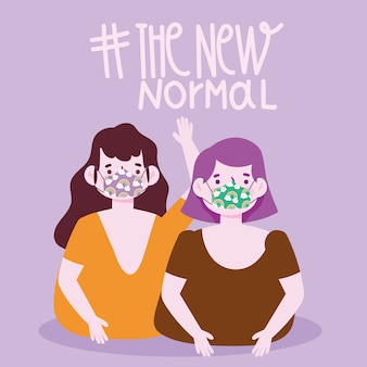 Новый нормальный образ жизни, две женщины в забавных масках векторная иллюстрация
