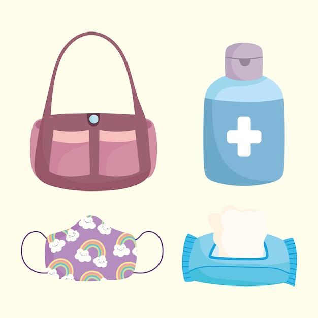 Новая нормальная, медицинская маска, папиросная бумага, спирт и сумка, векторная иллюстрация