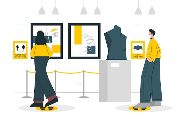 New normal in museums (covid) concept illustration