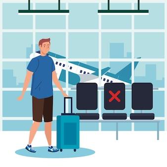 Новый нормальный мужчина с маской и сумкой в аэропорту - дизайн вируса covid 19 и тема путешествий