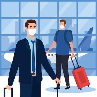 Covid19ウイルスと旅行のテーマの空港デザインでマスクとバッグを持つ男性の新しい正常