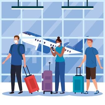 코로나 19 바이러스 및 여행 테마의 공항 디자인 마스크와 가방을 가진 남성 여성의 새로운 정상