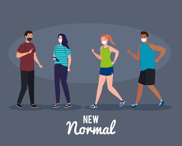 Новые нормальные люди с дизайном маски вируса covid 19 и тема профилактики