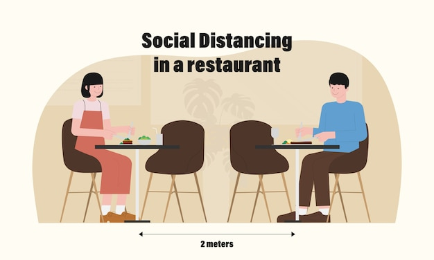 Новая норма ресторанной инфографики с социальным удалением в иллюстрации ресторана