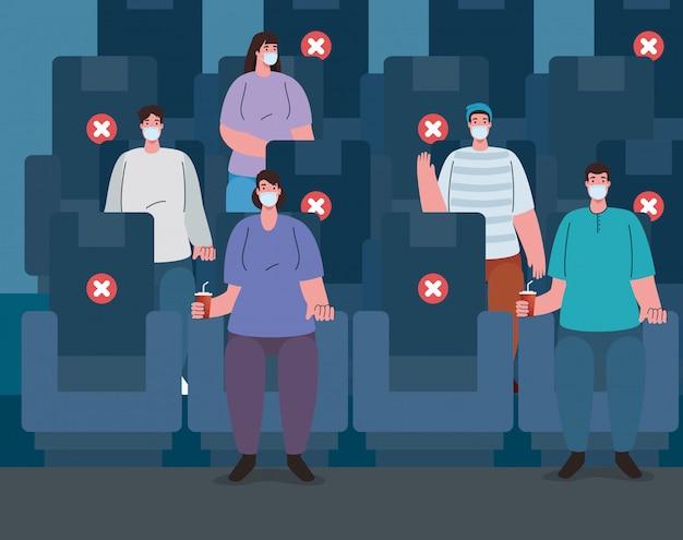 公共の場での社会的距離の新常態、コロナウイルスcovid 19中の映画館、医療用マスクを着用している人々、covid 19の広がりに対抗