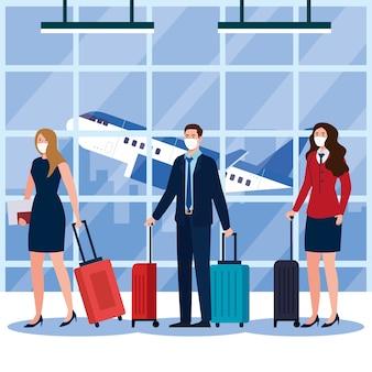 Covid19ウイルスと旅行のテーマの空港デザインでマスクとバッグを持つ女性の男性とスチュワーデスの新しい通常
