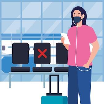 Новая нормальная женщина с билетом в маске и сумкой в аэропорту дизайн вируса covid 19 и тема путешествий