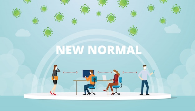 New normal office work life balance situation with mask and social distance concept with modern flat style illustration