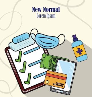 コロナウイルスcovid19のイラストの後、新しい通常のオンライン支払いと消毒表面