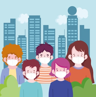New normal people cartoons with masks at city design of covid-19 virus theme