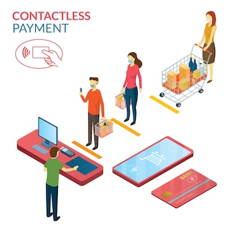 New normal, people in social distancing and contactless payment, shopping in mart and store