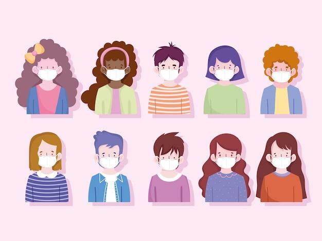 保護マスク付きの新しい通常の肖像画の男の子と女の子、予防covid 19