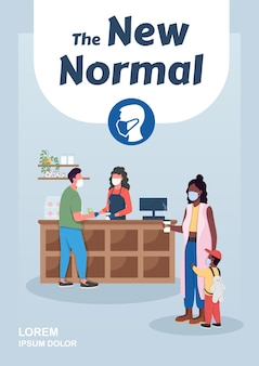New normal poster flat vector template. epidemic daily routine. covid lockdown. brochure, booklet one page concept design with cartoon characters. pandemic quarantine flyer, leaflet