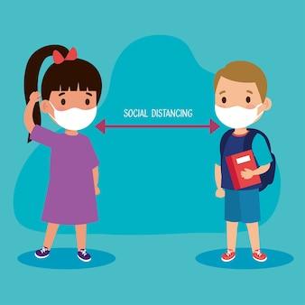 얼굴 마스크와 소녀와 소년 아이 사이의 사회적 거리에 대한 새로운 정상적인 학교 그림