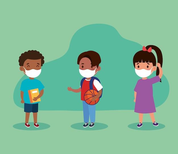 얼굴 maks를 가진 소녀와 소년 아이들의 새로운 정상 학교