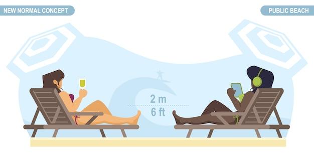 新しい通常の社会的距離の概念。 covid-19コロナウイルスから保護するために距離を置いて、ビーチにいる人々。