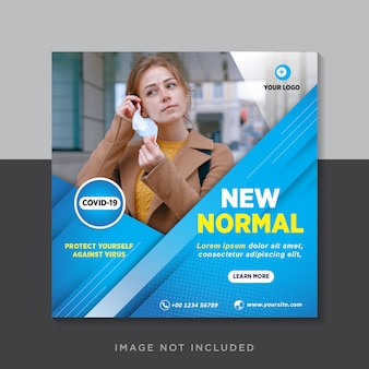 New normal social media square post flyer template