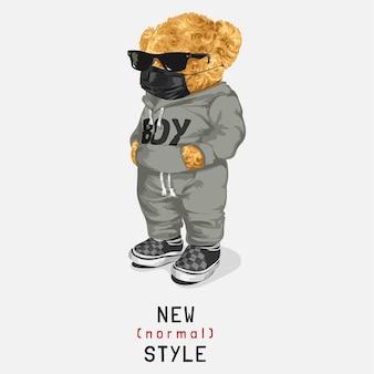 Новый лозунг нормального стиля с куклой медведь в солнцезащитных очках и иллюстрацией маски для лица