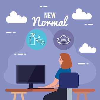 New normal of woman at desk design of covid 19 virus and prevention theme
