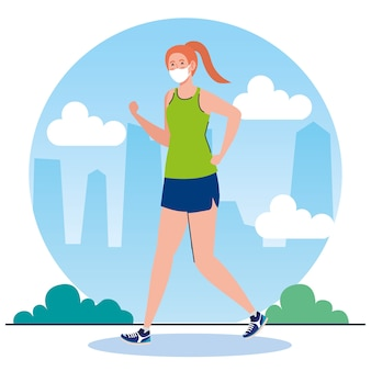 New normal of woman with mask running design of covid 19 virus and prevention theme