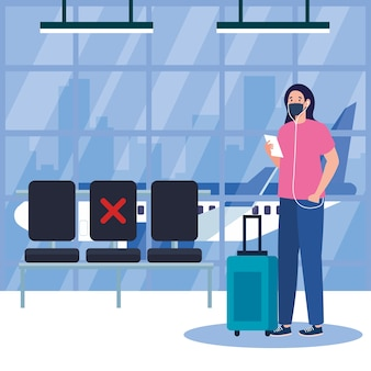 New normal of woman with mask ticket and bag at airport design of covid 19 virus and travel theme