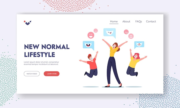 New normals of life landing page template. happy characters mother with children rejoice, people wearing funny kids masks with animal muzzles for protection of coronavirus. cartoon vector illustration