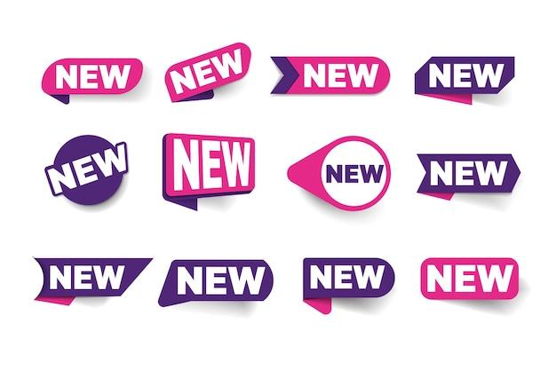 새 메모 레이블, 마크 태그, 스티커, 모서리 및 배지 세트. 도착 광고에 대한 프로모션 메시지가 있는 새로운 판매 조건 에티켓은 흰색 배경에 고립 된 벡터 일러스트 레이 션을 발표