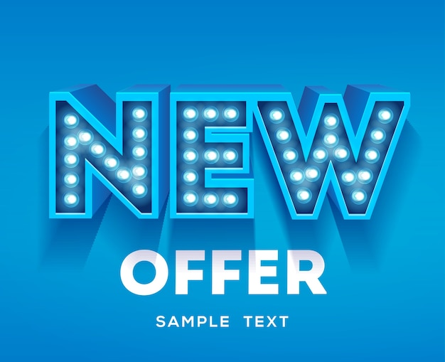 New offer sign. retro light signboard banner with glowing bulbs.