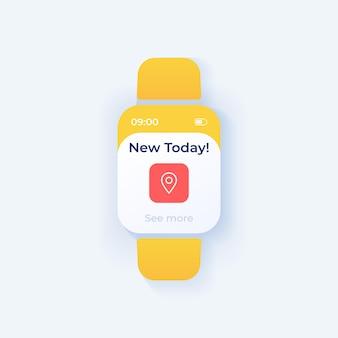 新しいオファースマートウォッチインターフェイスベクトルテンプレート。モバイルアプリ通知ナイトモードデザイン。リマインダーメッセージ画面。アプリケーションのフラットui。 gpsポインター。毎日の提案。スマートウォッチディスプレイ