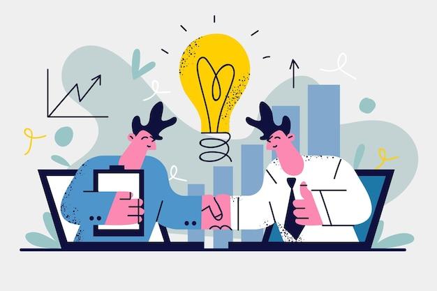 코로나 바이러스 대유행 재정 지원 개념 동안 새로운 온라인 비즈니스
