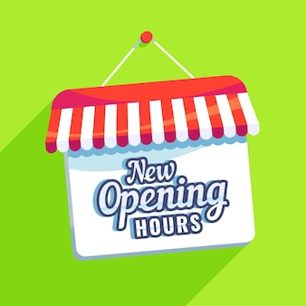 New opening hours sign