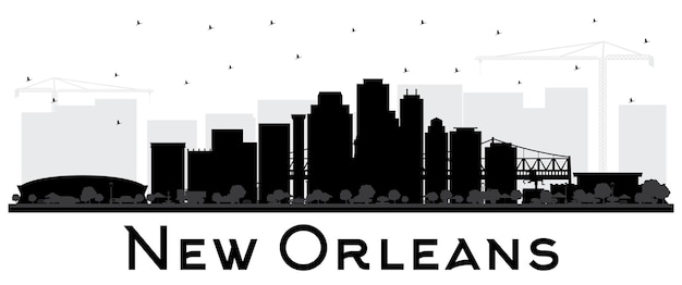 New orleans louisiana city skyline silhouette with black buildings isolated on white vector