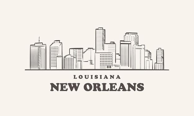 뉴 올리언스 스카이 라인 루이지애나 그려진 된 스케치