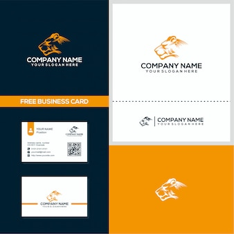 New panther head logo and business card design concept vector template