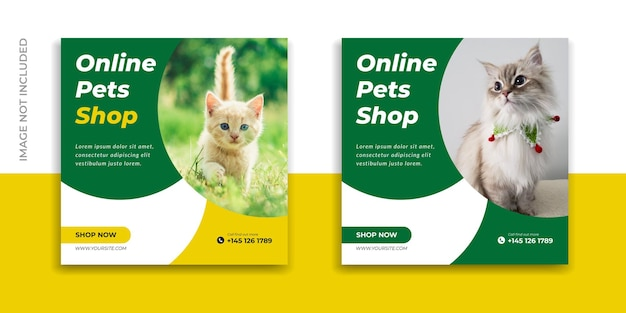 New pet shop social media post instagram promo banner template premium vector design