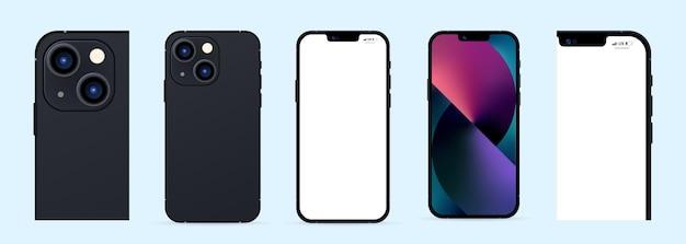 Новый телефон 13. pro max. вектор смартфона. телефон-макет экрана и телефон на задней панели. векторная иллюстрация.