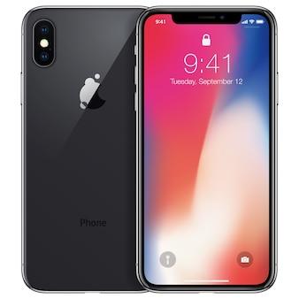 白い背景で隔離の新しい電話の前面と黒の背面カメラ側の描画形式