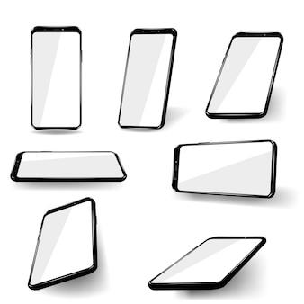 새 전화 전면 및 흰색 배경에 고립 된 검은 형식.