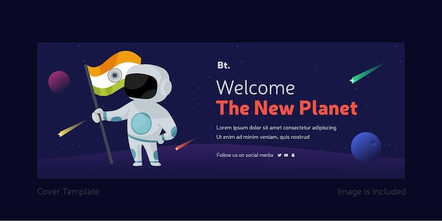 New planet facebook cover design template