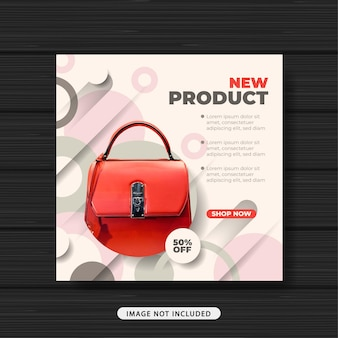 新製品バッグ販売促進ソーシャルメディア投稿テンプレートバナー