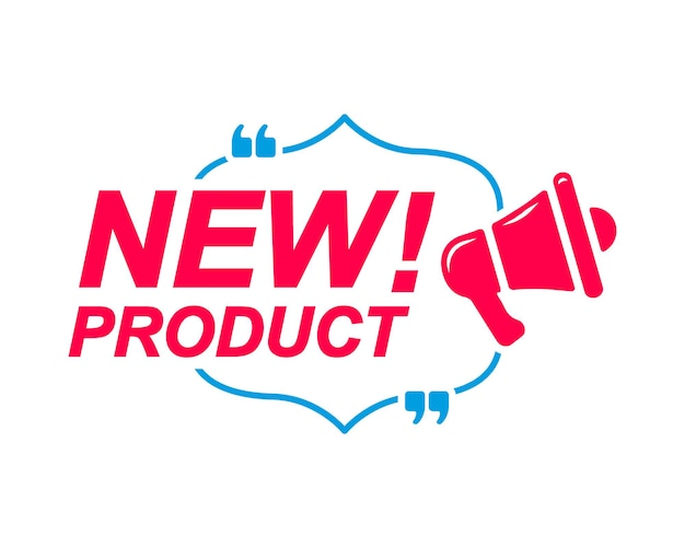 New product labels speech bubbles with megaphone icon  banner for social media website faq