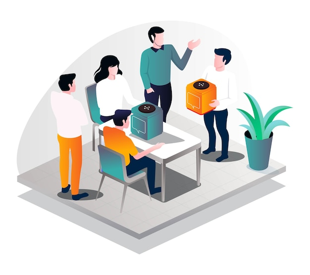 New product presentation in isometric illustration