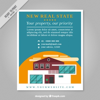 New real estate flyer in flat design