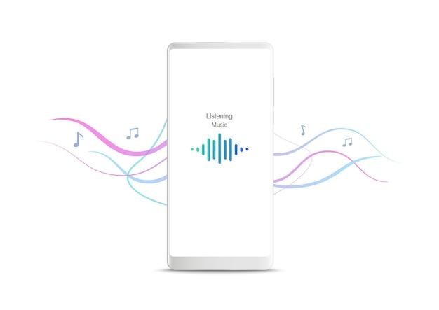 Новый реалистичный мобильный белый смартфон с приложением музыкального плеера на белом фоне.