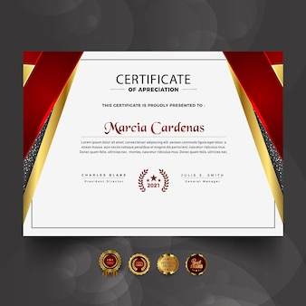New red luxury professional certificate template