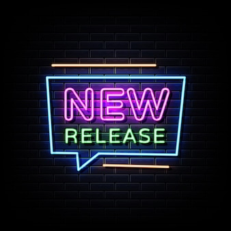 New release neon sign on black wall