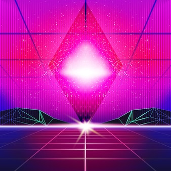New retro wave background. synthwave retro design and elements